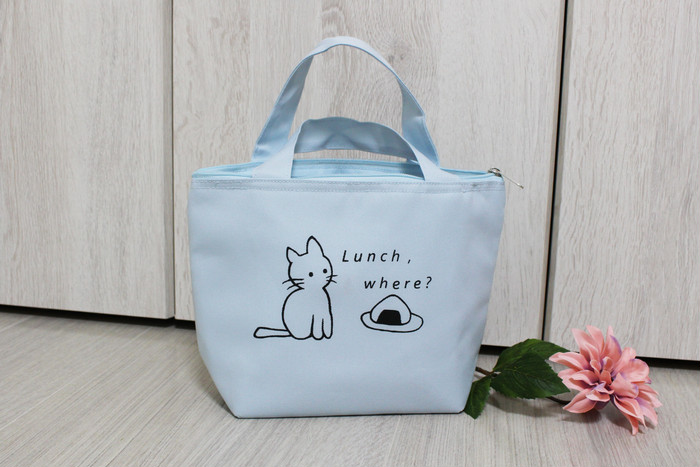 【猫の保冷バッグ☆薄い水色S】人気商品を再販売致します!