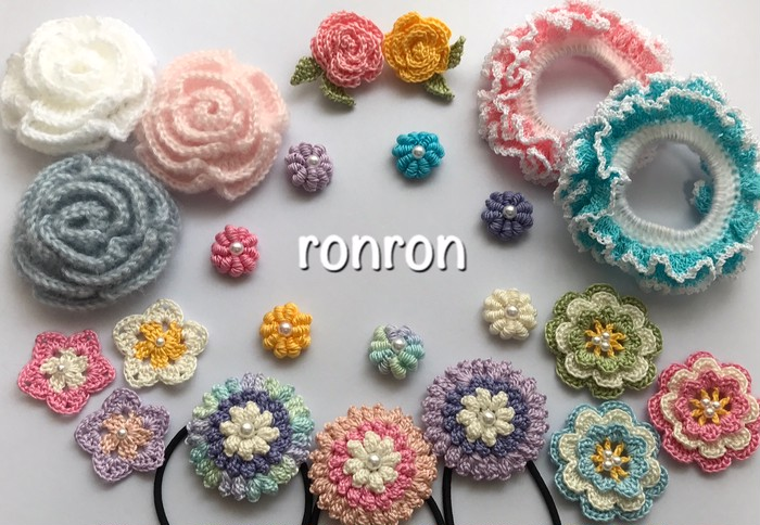 「皆んなに可愛いって言われた♪」手編みの温かさ伝わるお花のヘアゴム