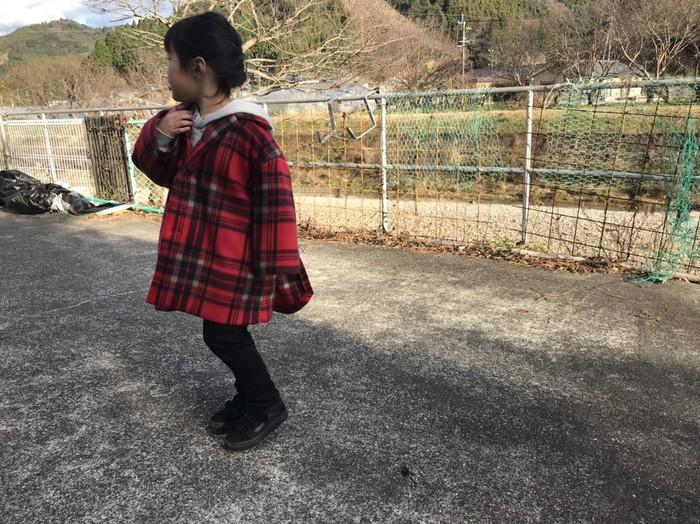 フリース生地のチェック柄コート登場!!