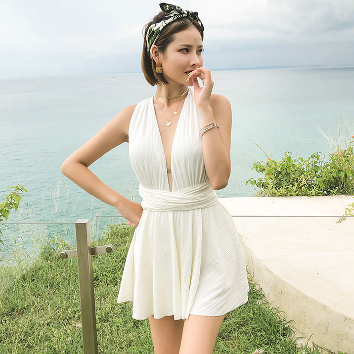 胸カバー  ビキニ 水着 韓国ファッション 薄い 温泉水着 ワンピース水着 TKR2019321
