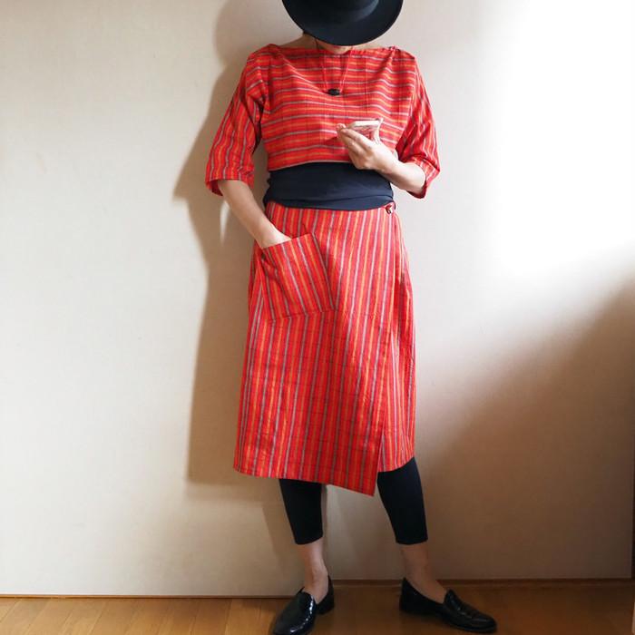 和のタータンチェックーービビッド格子のラップスカート