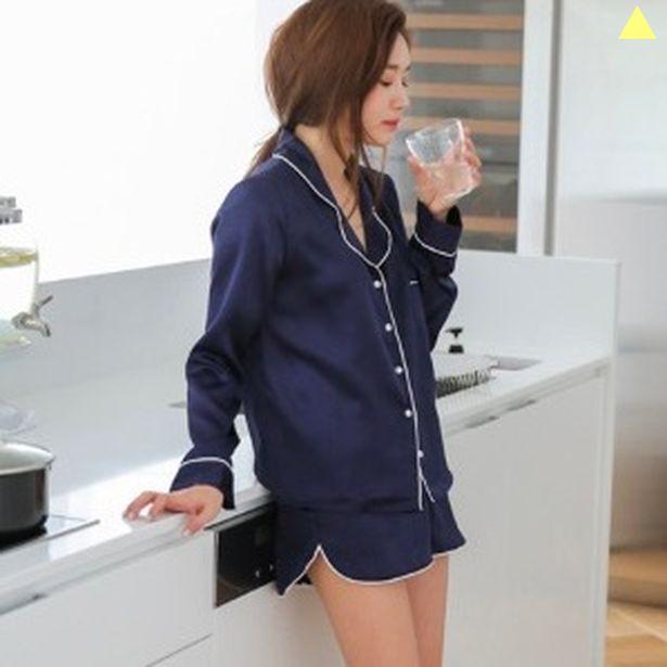 シルク風 パジャマ ⭐️レディース 長袖ショートパンツパジャマ セットアップ 藍色