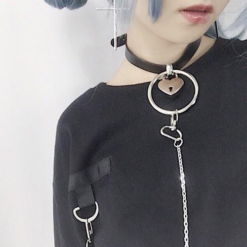 【Crazy Girl】チョーカー付きでお得なかっこ可愛いロングTシャツ