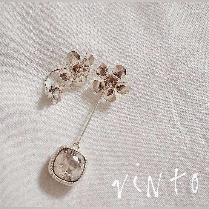 つみたてお花の贈り物|春の温かいアシメトリーなピアス