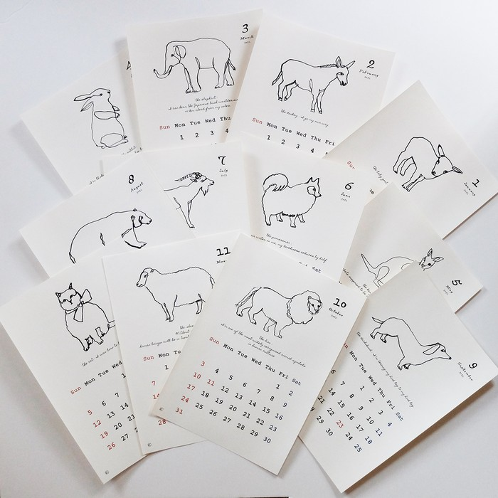 一筆書きの動物カレンダー2021