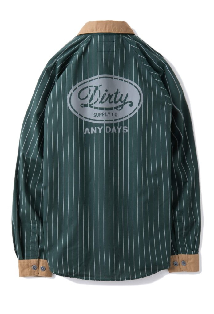 "AT-DIRTY(アットダーティー)/""MECHANIC L/S SHIRT"" (GREEN)"