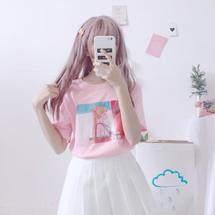 ◆スウィート春夏カートゥーン☆美少女戦士セーラームーン半袖Tシャツ◇