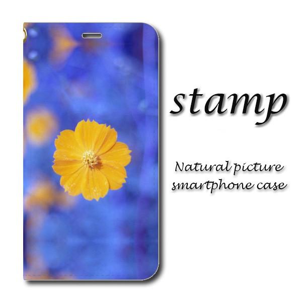 【手帳型スマホケース】深いブルーにワンポイントの花が映える、大人なイメージ「stamp」