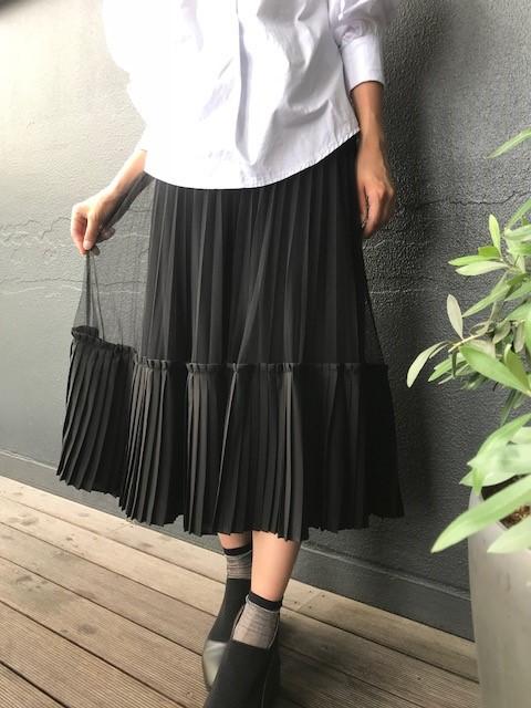 【2019 A/W】大人のプチプラおしゃれファッションー裾プリーツチュールスカートー