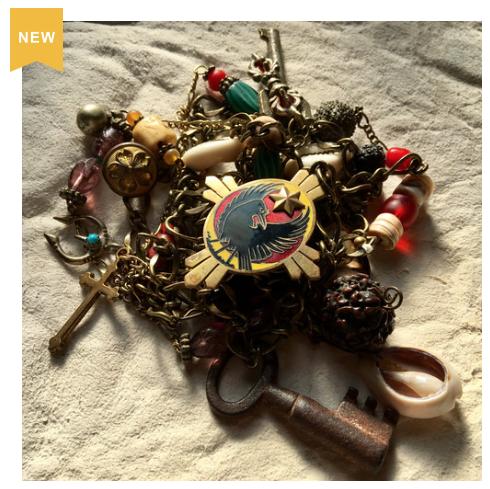 【No.138】スペシャル ネックレス antiqueビーズ 八咫烏 昭和レトロ 寳永通寳 コイン