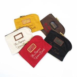 ヴィンテージの銀行用コインバッグをモチーフにしたポーチ。