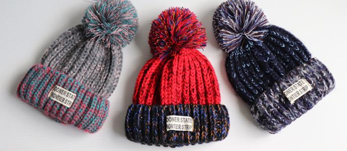 ★カラーバリエーション豊富★ ポンポンの付いた可愛いニット帽です♪