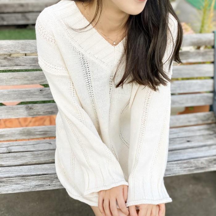 リブ編みニットトップス♡ ワンピとしても着れる…万能ニット♡