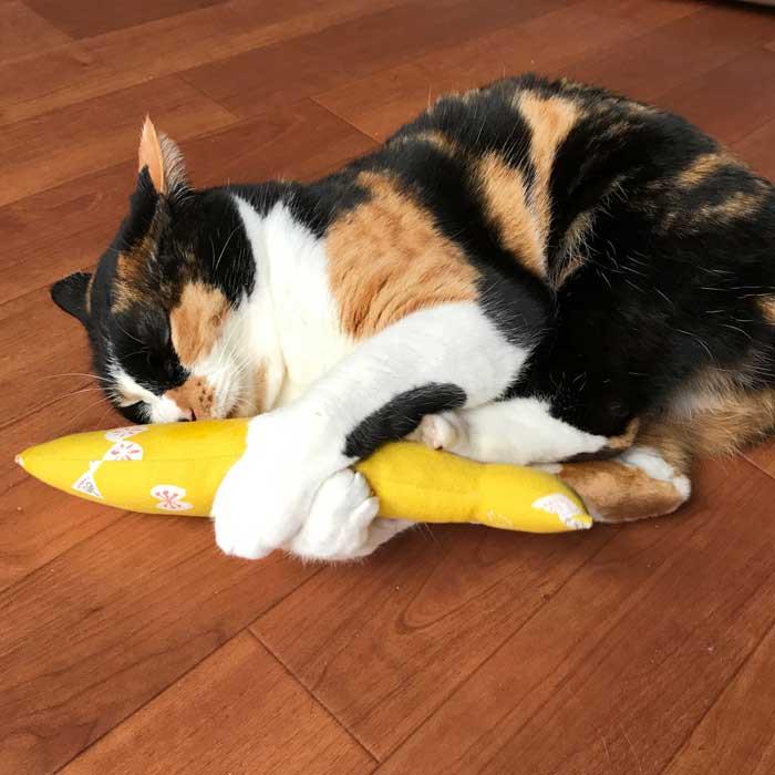 猫ちゃん大興奮の北欧ちょうちょ柄またたび入り魚型猫のおもちゃの蹴りぐるみ!お魚けりけり!
