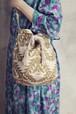 鳥文様金粉プリントラメ帆布巾着ショルダーBAG