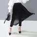 モード系 スカート ミドル丈 アコーデオンプリーツスカート レース 透け感 美脚 大人きれいめ  20代 30代