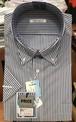 (衿回り41 半袖:L)青のストライプ柄 半袖カッターシャツ odor navi