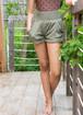 High Waist Shorts - Khaki Rib