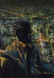 街の灯り アクリル画 手描き