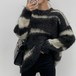 ニット 長袖 プルオーバー ゼブラ柄 レオパード柄 モヘア ラウンドネック 秋冬 オーバーサイズ ゆったり セーター ワイルド カジュアル ロング