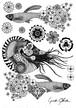 Fabric Sticker <Nautilus & Guppy> A4 size