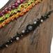 新色追加!天然石のマクラメ編みアンクレットorブレスレット/浜辺(ブラック系×ホワイトカルセドニー、トルマリン)