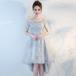 フィッシュテール ドレス シースルー オフショルダ ー 半袖 レース 二次会 お呼ばれ 結婚式(F043)