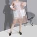 ドット柄 シースルー ワンピース 折り襟 韓国ファッション レディース ゆったりウエスト 大人カジュアル 大人可愛い ガーリー 621116535980