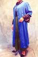 stylish line★Paisley pattern blue silk gown