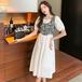 【dress】おしゃれ!ファッション切り替えデートワンピース2色ゆったり M-0260