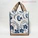 スザニ刺繍・ブルー唐草チックのバッグ【A4が入ります】/着物に合うバッグ