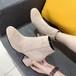 【シューズ】気質溢れるレトロミドルヒールヌバック無地ミドル丈ブーツ25287295
