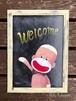 チョークアートポスター(ウェルカムソックモンキー) (A4/フレーム入り)