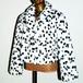 Vintage Dalmatian pattern cropped fake fur coat