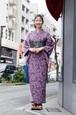 グラースオリジナル2019新作浴衣 La richesse(ラリシェス) ペイズリー 紫 セオα ポリエステル100%