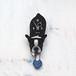 D-056 フレンチブル白黒-犬の振り子時計