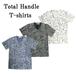 ダメージ加工ペイント総柄Vネック半袖Tシャツ