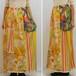 M~XLサイズ【アメリカ製古着】ヴィンテージリメイク◆イエローパステルトーンのフラワー×レトロプリントパッチワーク◆マキシ丈スカート