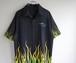 2000's ファイヤーパターン チカーノシャツ ブラック×グリーン/イエロー グラデーション 表記(L)