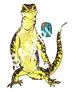 日本画風爬虫類ステッカー・グールドモニター