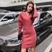 「ワンピース」秋冬女性らしいファッションスリムvネック気質2色ニットワンピース22836135