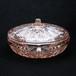 昭和 レトロ TOYOGLASS(東洋ガラス) バルキー ピンクガラス 菓子器 ラベル付き (055)