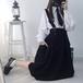 病みかわいい 黒 スカート ゴスロリ ストラップ付き ミモレ丈 ガーリー 原宿系 10代 20代