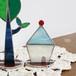 岩田けいこ*ステンドグラス 三角屋根の家(水色)