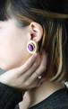 dead stock gold × purple earrings