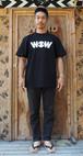 WOWベーシックロゴ Tシャツ 黒x白プリント(送料込み)