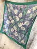 Vintage ITALY green floral poly scarf ( ヴィンテージ イタリア グリーン 花柄 ポリ スカーフ )