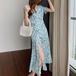 【dress】おしゃれ!スウィート 着瘦せVネックスリット花柄ワンピース超人気 M-0427