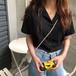 レディース オシャレ OL 折り襟 半袖 シンプル 合わせやすい シャツ・トップス