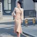 【dress】レディースファッションフェミニン着痩せ切り替えデートワンピース